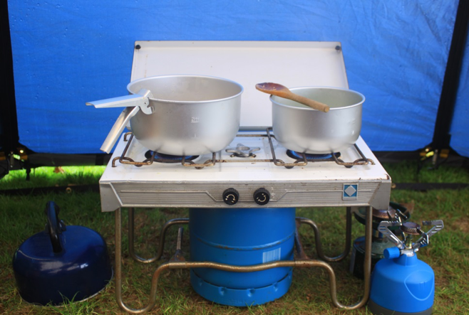 Cooking in a tent