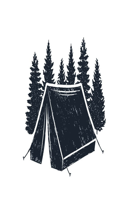 Hand drawn inspirational label with pine trees and camping tent textured vector illustrations
