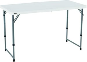 Lifetime Height Adjustable Craft Camping and Utility Folding Table 4 ft White Granite